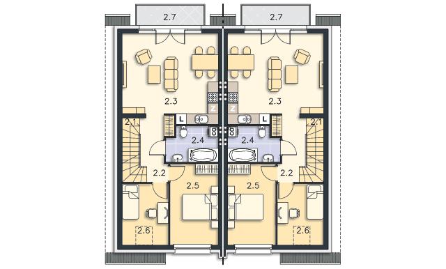 Rzut kondygnacji Piętro - projekt Fossano III
