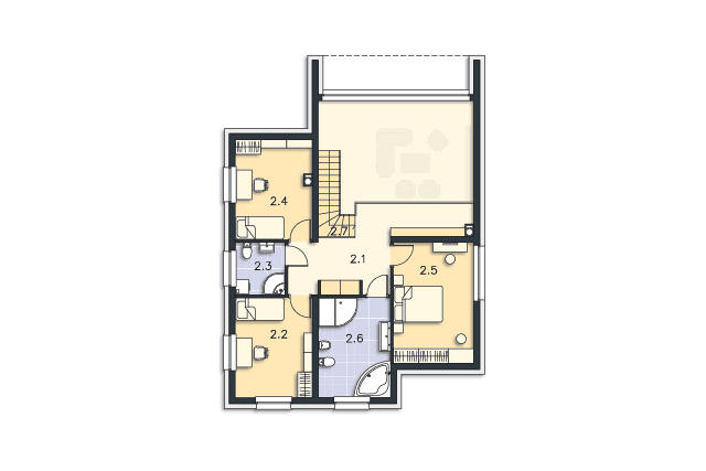 Zobacz powiększenie rzutu kondygnacji Piętro - projekt Delft II