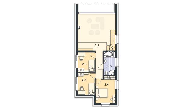 Rzut kondygnacji Piętro - projekt Delft III