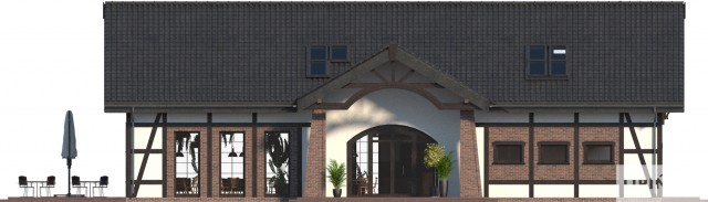 Zobacz powiększenie elewacji frontowej - projekt Budynek usługowy Orzeł II