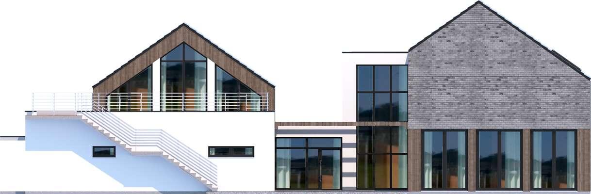 Elewacja ogrodowa - projekt Budynek usługowy Jastrząb