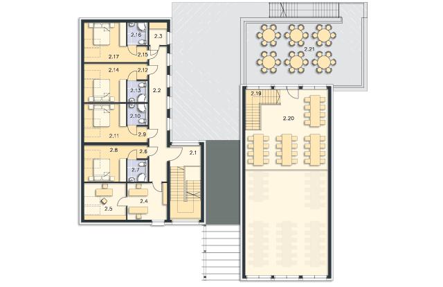 Rzut kondygnacji Poddasze - projekt Budynek usługowy Jastrząb