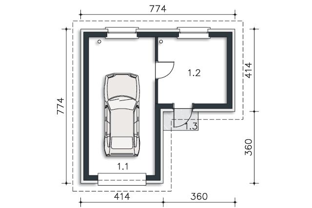 Zobacz powiększenie rzutu kondygnacji Parter - projekt Garaż