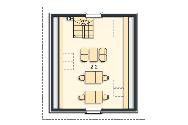 Zobacz powiększenie rzutu kondygnacji Poddasze - projekt Garaż