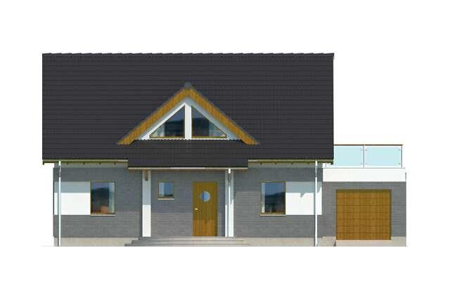 Zobacz powiększenie elewacji frontowej - projekt Lipińscy Dom Pasywny 1
