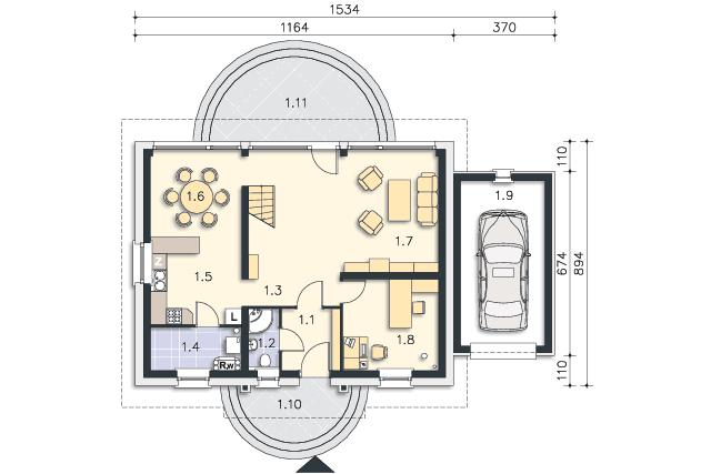 Rzut kondygnacji Parter - projekt Lipińscy Dom Pasywny 1
