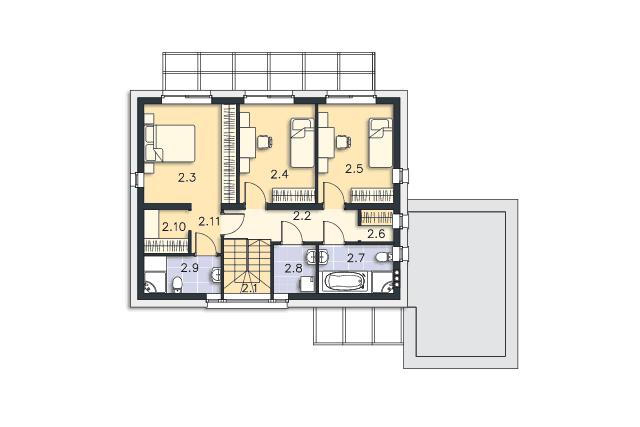 Zobacz powiększenie rzutu kondygnacji Piętro - projekt Espoo Pasywny 4
