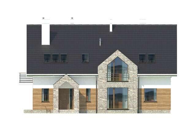 Zobacz powiększenie elewacji frontowej - projekt Budynek agroturystyczny Dąb