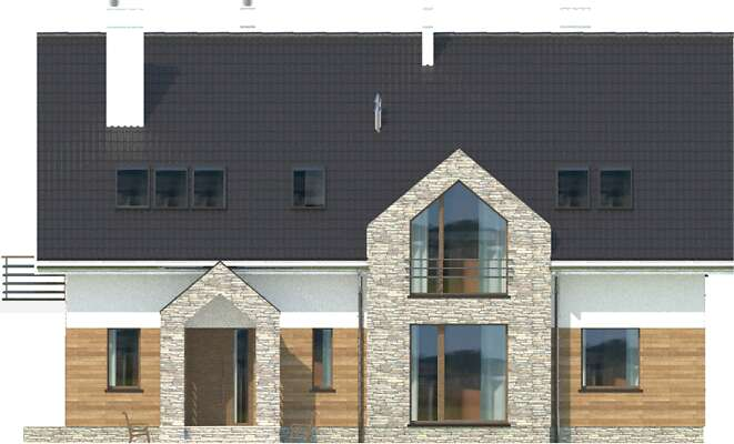Elewacja frontowa - projekt Budynek agroturystyczny Dąb