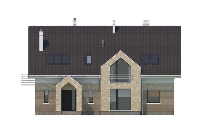 Zobacz powiększenie elewacji frontowej - projekt Pensjonat Dąb 2