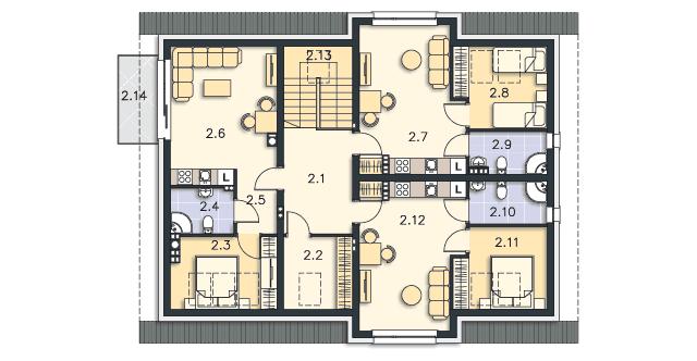 Rzut kondygnacji Poddasze - projekt Budynek agroturystyczny Dąb 2