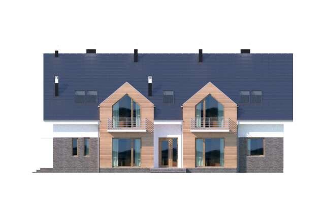 Zobacz powiększenie elewacji frontowej - projekt Budynek agroturystyczny Dąb 3