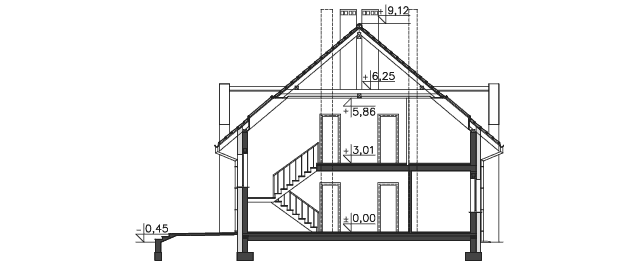 Przekrój - projekt Budynek agroturystyczny Dąb 3