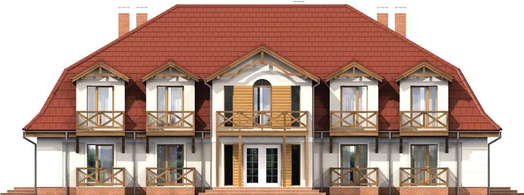 Elewacja frontowa - projekt Budynek wypoczynkowy Ambrowiec