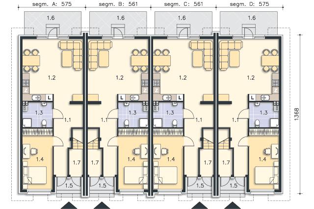Zobacz powiększenie rzutu kondygnacji Parter (mieszkanie 1) - projekt Bellagio